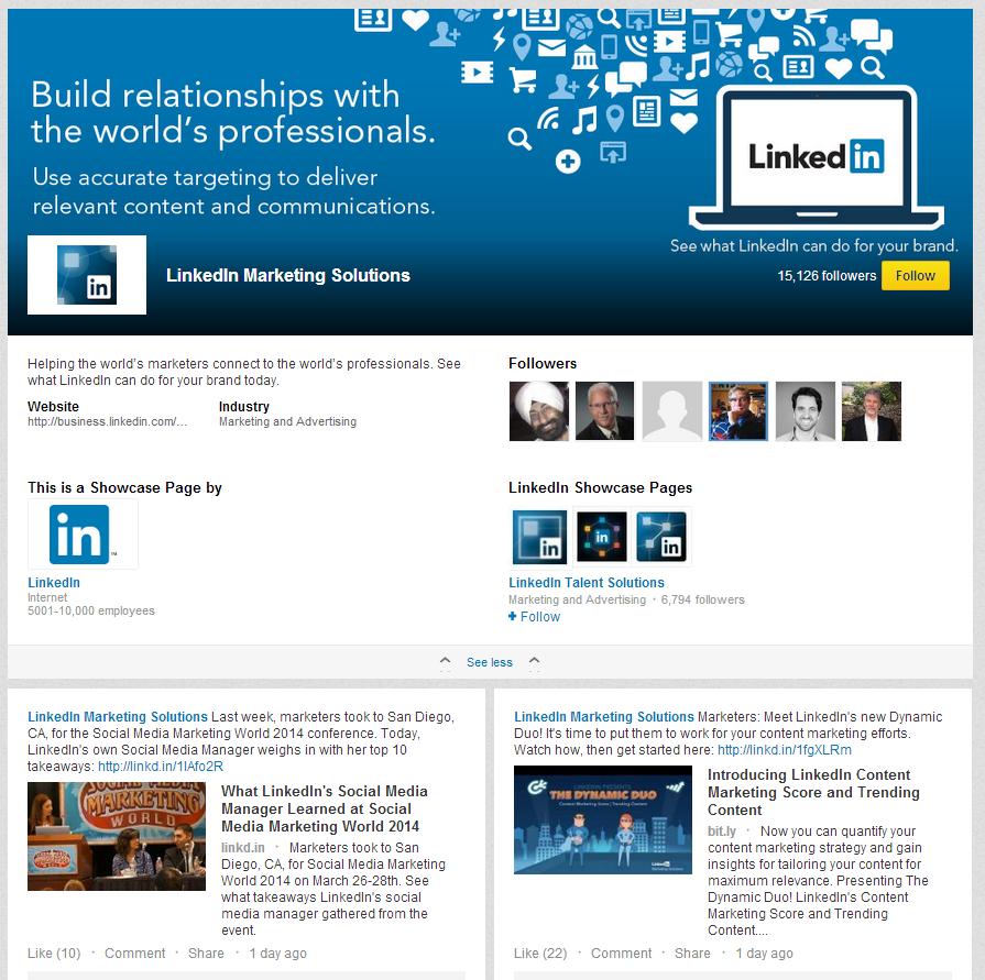 LinkedIn Love LinkedIn Marketing Solutions Showcase Page