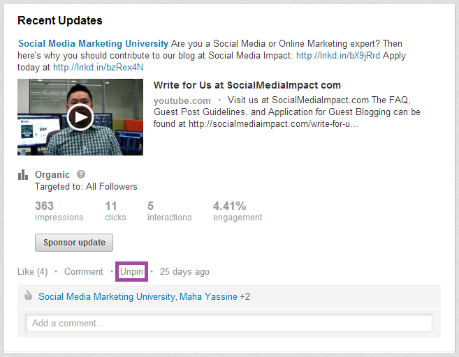 LinkedIn Love SMMU Pin to Top