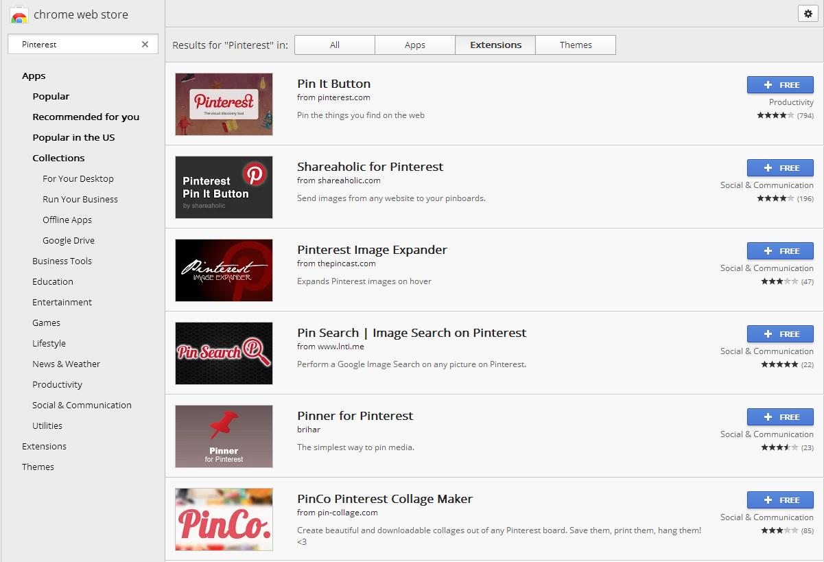 Pinterest Promotion Chrome Extensions