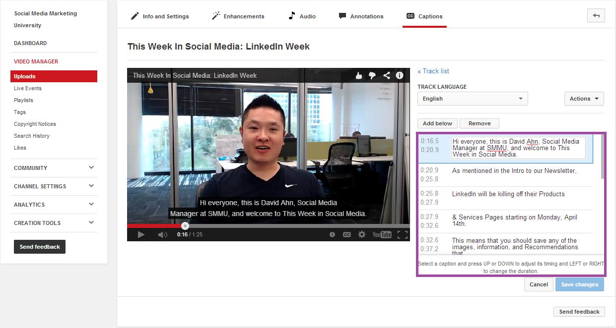 YouTube Marketing Advice Edit Captions