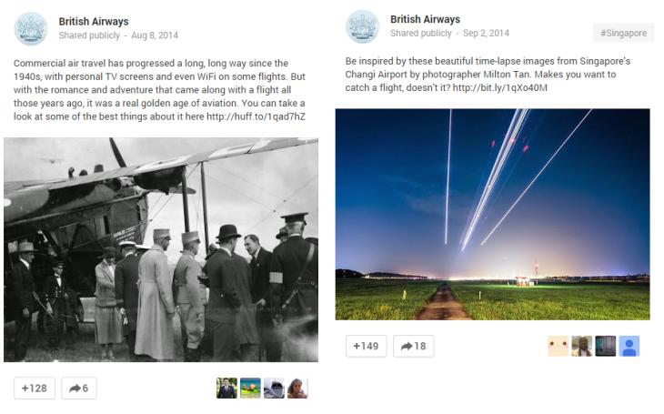 Google Plus British Airways