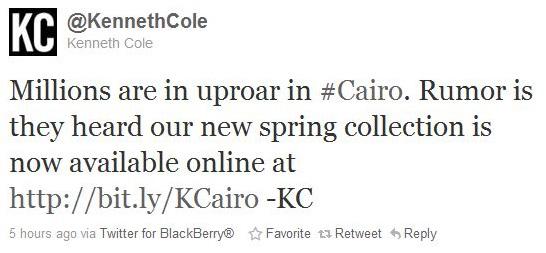 Kenneth Cole Tweet copy